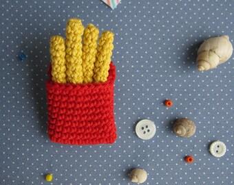 Crocheted Fries Brooch