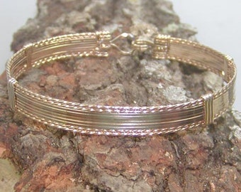 Bangle - Wire Bracelet - Classy 10 Strand Gold Wirewrapped Bracelet  - Stackable Bracelet - Gold Wire Bangle - Wire Wrap Bangle - Great Gift