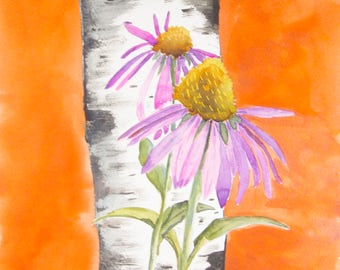 Aspen Tree Art Original Painting Pink Daisies Bedroom Decor Mom Git Colorado Modern Fine Art Coneflower original watercolor floral painting
