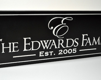 Personalized Family Name Sign Plaque Wall Sign Established Sign 6x16 Carved Engraved Makes a great wedding or anniversary gift