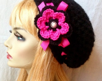Black Slouchy Beret, Woman Hat, Chunky, Hot Pink Ribbon, Flower, Head Cover, Teens, City Hat, Birthday Gifts, Gifts for Her, JE410BEFR2