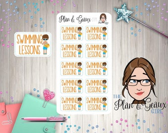 Swimming Lessons Planner Stickers, Boy Swimming Lessons Stickers,  Happy Planner, Bullet Journal, FUN-077 Standing Boy with Beach Ball
