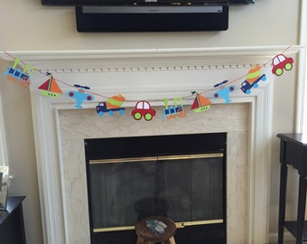Vehicle Banner, Transportation Theme Birthday Banner, Sailboat, Helicopter, Truck, Airplane, Car, photo prop