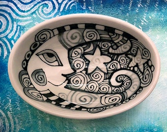 Moon / Luna Celestial Ceramic Bowl - Ceramic Pottery Hand Painted Small Oval Shaped Bowl - Kitchen Decor by Artist Cindy Couling