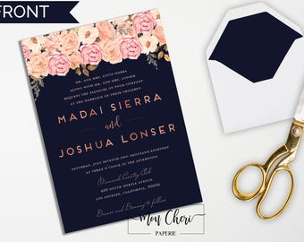 Navy and Blush Rose Gold Floral Wedding Invitation | Navy Wedding Invite | Wedding Invitation Rose Gold Effect Wedding Invitation Printable