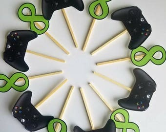 Video game themed birthday cupcake toppers. Xbox, PlayStation cupcake toppers. Gamer birthday decor