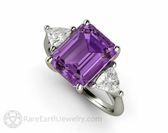 Purple Sapphire Ring Emerald Cut Three Stone Engagement Ring with Trillions Color Change Gemstone