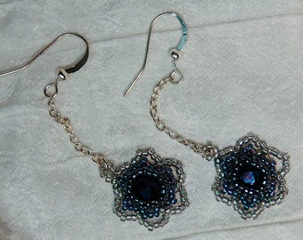 Chained Cabbage Rose Earrings in Ombre Grey and Silver