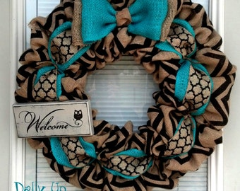 Burlap Wreath - Black and Natural Chevron - Teal Wreath -  Home Decor -  Front Door Wreath  - Fall Wreath - Winter Wreath - Everyday Wreath