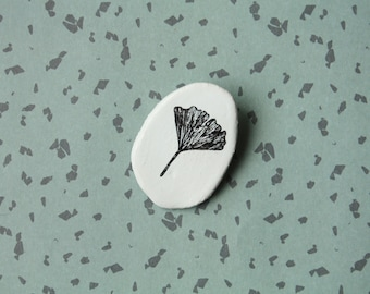 Handmade Ceramic Brooch - Screenprint Ginkgo Biloba Small