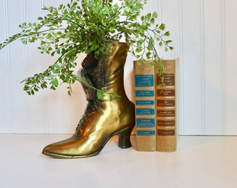 Midcentury Vintage Metal Boot Vase, Ladies Metal Boot Vase