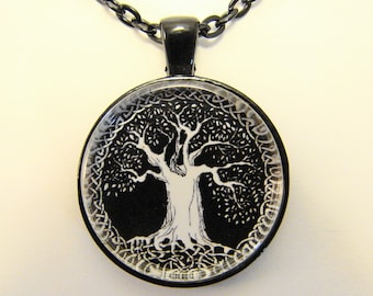 TREE of LIFE Necklace -- Spiritual art necklace in white on black for him and her, Harmony and growth, Friendship token