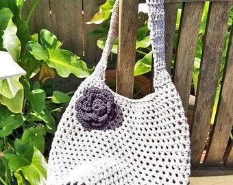 CROCHET TOTE BAG, Boho Market Bag, Cotton Market Bag, Eco-Friendly, Mesh Beach Bag,  Market Tote, Market Sack