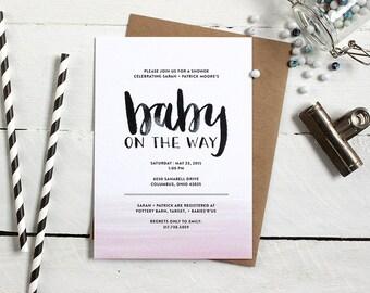 Printable Whimsical Baby Shower Invitation - Custom Baby Shower Invite - Modern Calligraphy Baby Shower Invitation - Ombre Watercolor Desgn