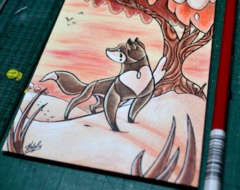 Black Fox Lost - Original, freestanding art on recycled board, red tree snow
