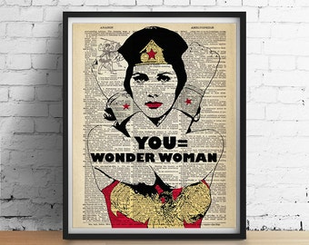 YOU Equals Wonder Woman Art Print Poster, Superhero Art, Personalized Name Inspirational Wall Art, Womens Gifts Boss, Vintage Dictionary Art