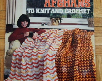 Vintage Knit Afghan Patterns Instant Download PDF Ripple Afghans to Knit and Crochet 1978 4 Knitted Crochet Afghan Vintage Patterns