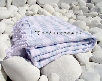 Turkishtowel-Soft-Highest Quality Pure Organic Cotton,Hand Woven,Bath,Beach,Spa,Yoga,Travel Towel or Sarong-So Pale Blue and White  Stripes