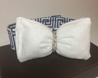 Decorative blue and white print doggie bow tie w/ embellishment