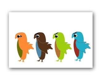 Four Owls standing in a queue -  Kids Art Prints, nursery decorating ideas, nursery owls, wall decor