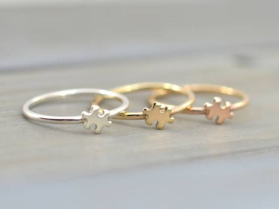 Gold puzzle ring Tiny Puzzle ring Dainty cute ring Autism