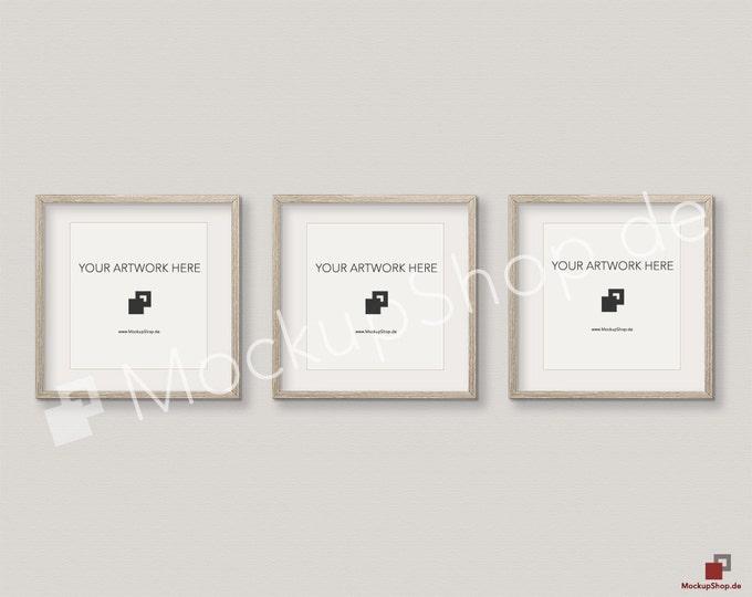 Set of 3 SQUARE MOCKUP FRAME on beige wall, Frame Mockup, Amazing brown photo frame mockup, Digital Download Square Frame Mockup