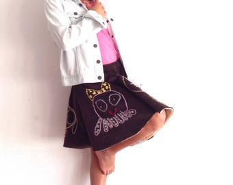 Circle skirt embroidered drawings with your girl drawings, corduroy embroidered skirt, made in Spain, inforgettable gifts for girls, skirts