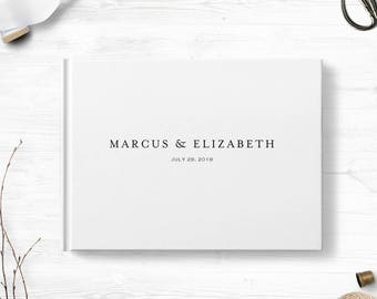 Wedding guestbook, Custom wedding guest book, Landscape hardcover white sign in book, Optional gold foil, Various cover colors