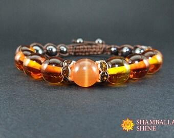 Fairytale gift Women amber bracelet Honey gemstone jewelry Brown braided bracelet Amber natural Orange brown bracelet Amulet gemstone gift