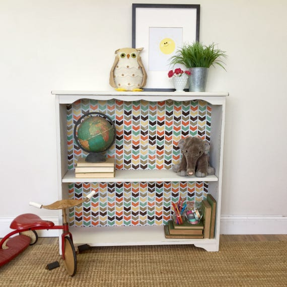 Small White Bookcase for Nursery or Kids Bedroom - Distressed Painted Bookshelf - Real Wood Furniture - Shabby Furniture
