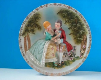 Gorgeous  Vintage Ceramic Wall Plate With Colonial 3D Figures, Wall Plate, Vintage Ceramics, Lovers,  Collectible Plate, Made In Japan.