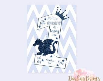 First Birthday Boy Fairytale Invitations • DIGITAL FILE • Personalised and print ready