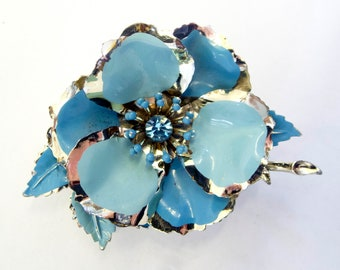 Blue and Silver Metal Floral Brooch