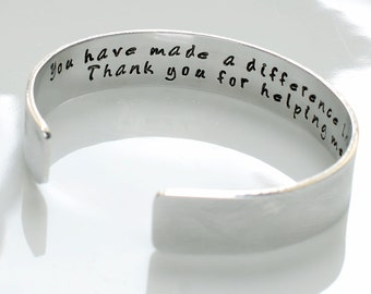 Thank you for helping me grow cuff, Teacher Gift, Gift for Teachers, Daycare Gift, Babysitter Gift, Nanny Gift, personalized cuff