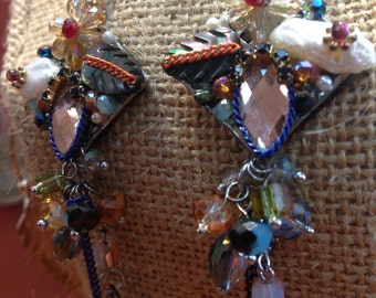 Multicolor Colorful Beaded Gem Stones Flowers Leaves Dangle Earrings FREE SHIPPING