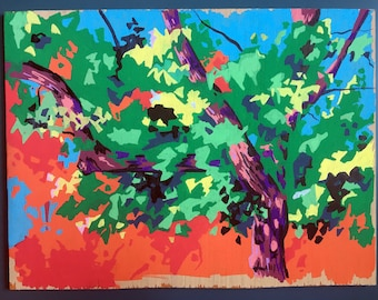 Tree Painting Abstract - Original Painting on Wood - Paintings of Trees - Colorful Art - Home Decor Tree - Painting of Foliage against Sky