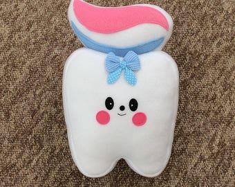 Kawaii plushie cushion, Tooth toy plushie cushion, soft fleece cushion, kids cushion pillow, children's cushion pillow, novelty cushion