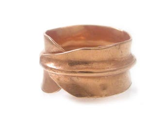 Leaf Ring Copper, Wide Copper Ring, Mens Copper Ring, Forged Copper Ring, Nature Inspired Jewelry, Copper Thumb Ring, Large Copper Rings