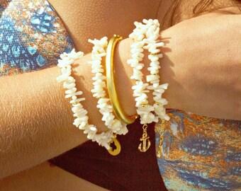 Bracelet de corail d'été - blanc