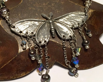 Moth Necklace with Pewter Crystal Pearl Opalite Gemstone Beads