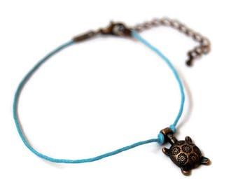 Turtle anklet, Cord anklet, Wish Anklet, Dainty anklet, Turtle anklet, boho anklet, girlfriend gift, valentine for her, Copper turtle anklet