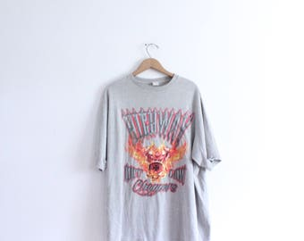 Outlaw Choppers Flaming Skull 90s T Shirt