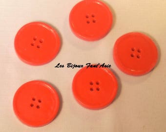 Set of 5 handmade buttons red 15mm round polymer clay