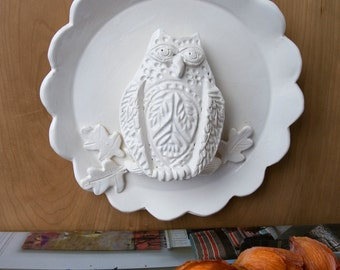Owl on a Branch Plate Wall Sculpture