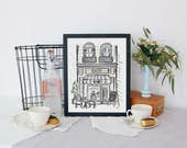 French Cafe - French Scene - Illustration - Spring Decor - Art Print - Cafe - Hand Drawn - France