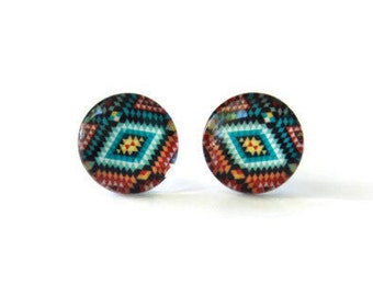 Aztec stud earrings - Boho jewelry - Tribal stud earring - Bohemian earrings - Colorful stud earrings