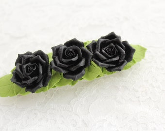 Hair barrette polymer clay flower  Three black roses
