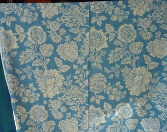 1 m fabric flower-blue and white upholstery * width: 1.38 m * new