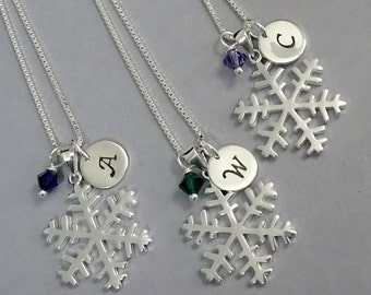 Sterling Silver Snowflake Necklace, Snowflake Necklace, Personalized Snowflake Necklace, Bridesmaid Necklace, Bridesmaid Gift, Gift for Her