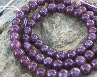 Purple Lepidolite rounds 6mm beads 4 beads AAA quality